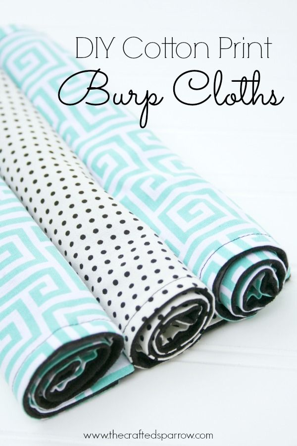DIY Cotton Print Burp Cloths by The Crafted Sparrow | Mabey She Made It #nestingtonewborns #burpcloth #baby