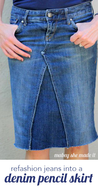 Great way to solve that too-low rise problem--turn your jeans into a skirt! Easy tutorial for a fitted pencil skirt you'll wear all the time.