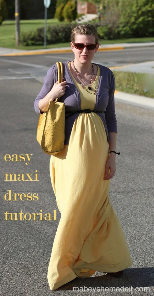 Maxi Dress Tutorial   Mabey She Made It   #maxidress #tutorial #upcycle #maternity