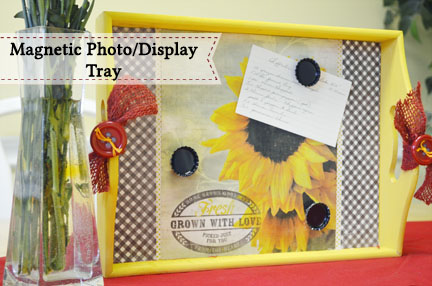 Magnetic Photo Display Tray by My Daylights   Mabey She Made It   #magnetic #photodisplay #recipeholder