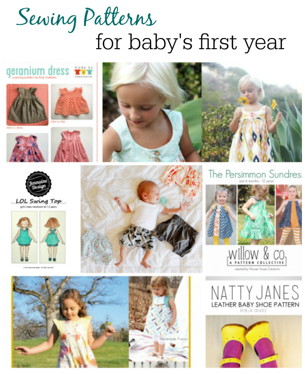Sewing Patterns for Baby's First Year curated by A Jennuine Design | Mabey She Made It | #PDFpattern #sewingforbaby #sewing #girlpatterns