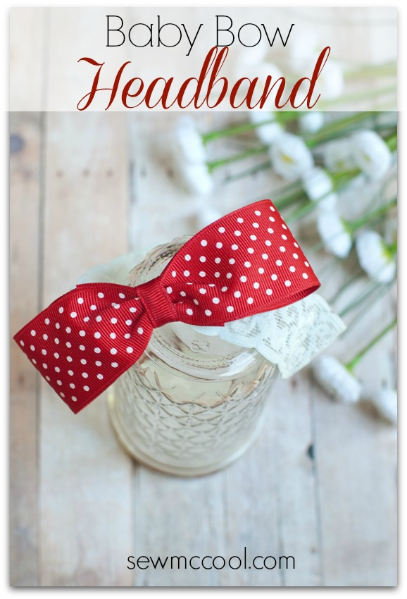 Baby Bow Headband by Sew McCool | Mabey She Made It | #baby #headband #bow