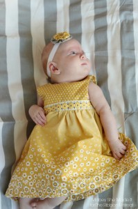 Y is for Yellow Yoked Dress with yo-yos | Mabey She Made It