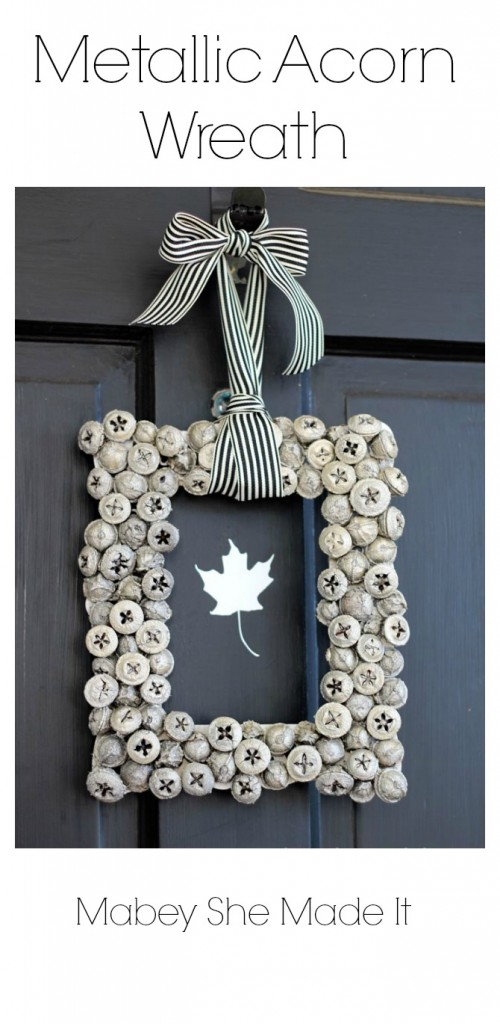 Gorgeous! Must make this Metallic Acorn Wreath | Mabey She Made It | #wreath #autumn #acorn #homedecor