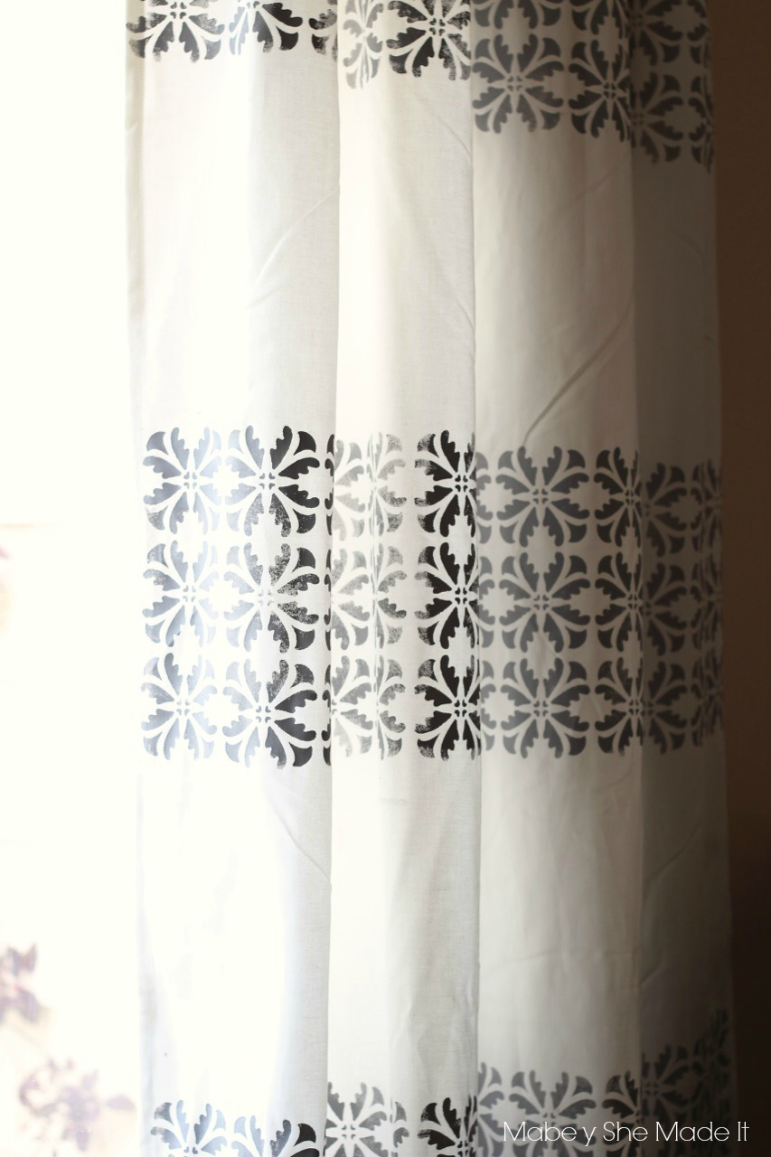 DIY Stenciled Curtains | Mabey She Made It | #curtains #stencil #homedecor #royaldesignstudio