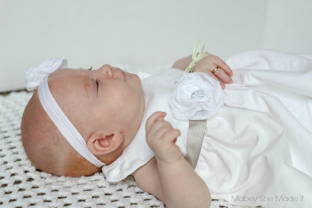 Maya's Blessing Dress | Mabey She Made It | #geraniumdress #babyblessing #blessingdress