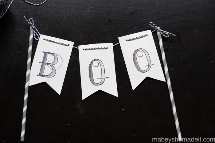 Boo Pennant Cans   Mabey She Made It   #halloween #pennants #watercoloring #party