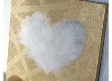 """""""Love"""" Feathered Heart Canvas"""