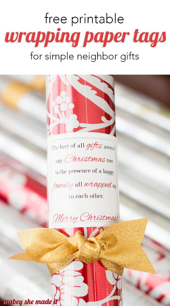 Christmas Gift Wrap Printable (Neighbor Gift Idea) | Mabey She Made It