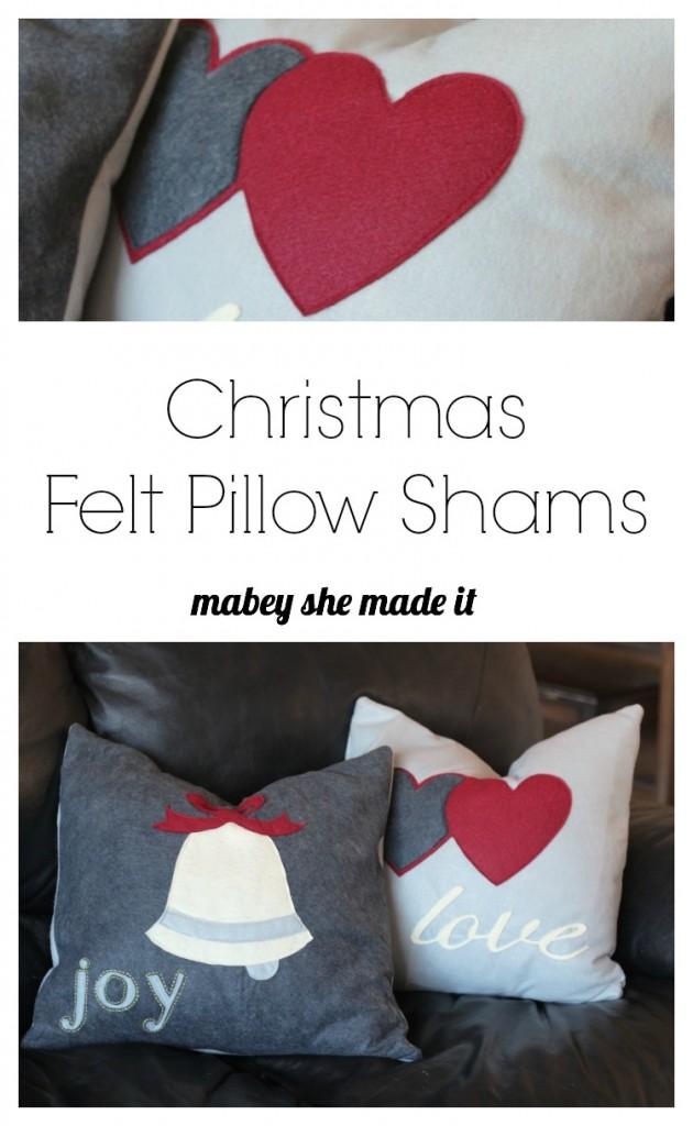How to Make Christmas Felt Pillow Shams | Mabey She Made It | #christmas #pillowsham #homedecor #pillow