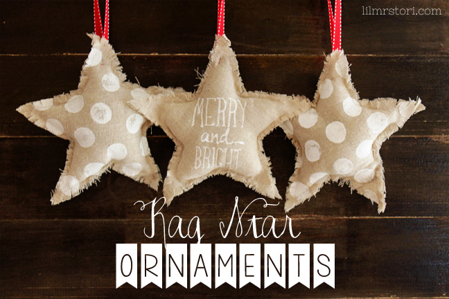 Rag Star Ornament by Lil Mrs. Tori | Mabey She Made It | #star #ornament #christmas #silhouette