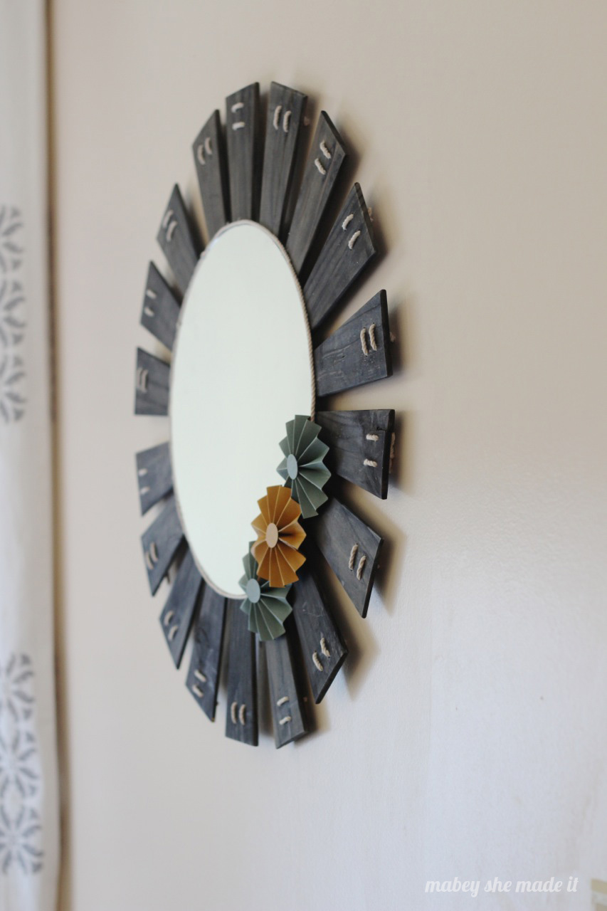 Starburst Mirror from an upcycled Lamp Shade | Mabey She Made It | #upcycle #repurpose #lampshade #starburstmirror
