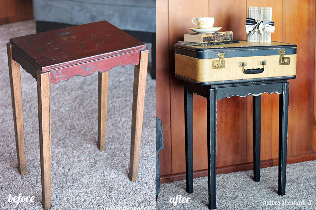 Turn A Gorgeous Vintage Suitcase Into A Show Stopping Side Table.