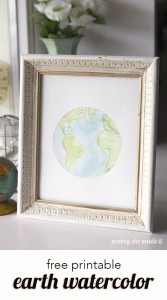 Download this free printable earth watercolor for a beautiful display. There are also other versions with quotes