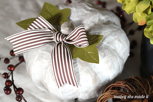 This vellum pumpkin is a fun, easy way to create neutral fall decor.
