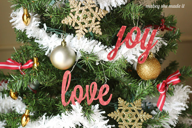 You can use any word to decorate your christmas tree using this Peace, Love, and Joy ornament tutorial.