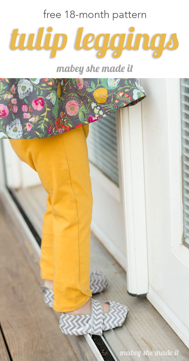 Get the free 18-month pattern for Tulip Leggings at Mabey She Made It