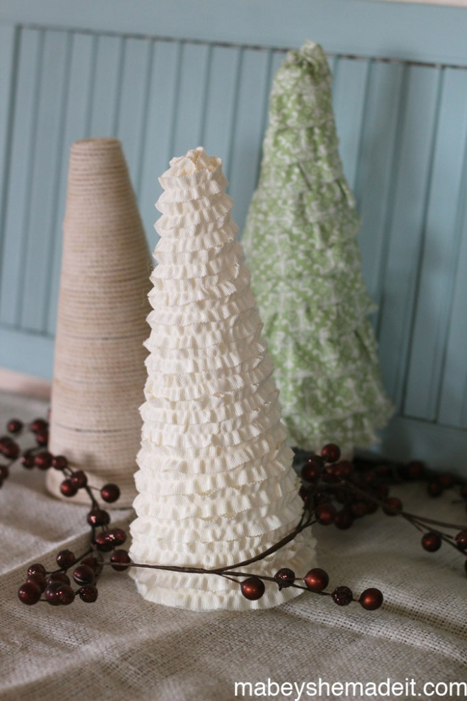 Christmas Cone Trees | Mabey She Made It for Made From Pinterest | #christmas #cone #christmasdecor #christmascrafts